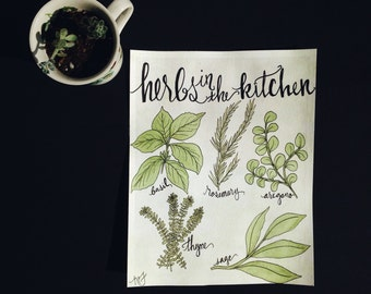 Herbs In The Kitchen - Original Watercolor Painting - Kitchen Art