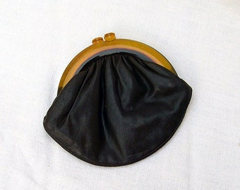 Vintage Budd Leather Clutch Purse with Bake-Lite Handle