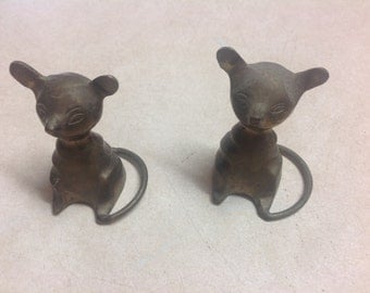 """2 vintage brass mice standing 2 1/2"""" tall made in India"""