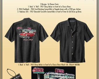 "Retro Americana Shirts - Highest Quality 100% Silk Shirts, Rock ""n"" Roll - 1957 Chevy Belair in front of a Classic Diner on Back of Shirt."