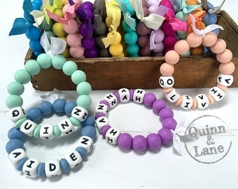 Personalized Silicone Teething Ring - Baby Toy - Silicone Beads - Teether Chewing Beads - Chew Jewelry Beads - Chew Toy Beads