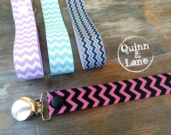 Universal Pacifier Clips YOU CHOOSE - Soother Holder - Pacifier Strap - Soothie MAM Nuk Gumdrop Soother Clips - Pacifier Holders - Chevron