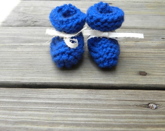 Premie Royal Blue Knit Baby Booties