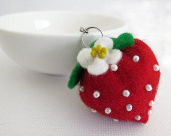 Strawberry Felt Key Ring - hand sewn fruit