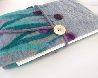 Journal cover, sketch book cover,book cover, Grey felted journal cover with purple flowers, journal cover, fits A5 art journal