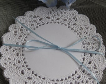 """4"""" inch White Elegant Brooklace FancyLACE Paper Doily 50 Pcs Round Weddings Events decorations Cards Free Shipping in USA Stamping Cards"""