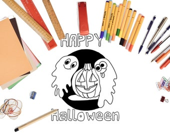 Happy Halloween Coloring Page! Ghosts, Pumpkins