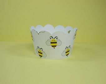 Bumble Bee Cupcake Wrappers, Bee Theme Cupcake Holders, Baby Shower, Birthday Party, All Occasion, Set of 12, Standard Size
