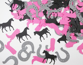 "Horse Party Decoration, Pink Riding Boots & Horseshoe Confetti, Cowgirl, Girl Birthday Party, 1.25"", 100 CT., Ships in 2-3 Business Days"