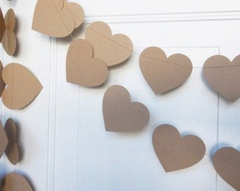 Paper Heart Garland, Wedding Garland, Rustic Heart Garland , Party Decoration, Shower Decoration, 12'