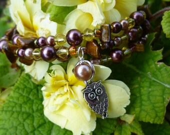 Tiger Eye memory wire bracelet, silver owl bracelet, tigers eye jewellery, gemstone bangle, pull on stretch style, graduation gift