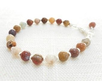 Ocean Jasper Bracelet, Stone Beaded Bracelet, Ocean Jasper Jewelry, Multicolor Gemtone Bead Bracelet - Brown Rust Tan Gray White Beads
