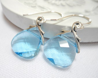 Aqua Crystal Briolette Earrings, Aquamarine Swarovski Crystal Flat Briolette Earrings, Blue Crystal Dangle Earrings, Jewelry Gift for Her