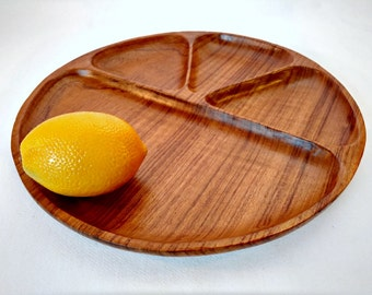 Vintage Teak Wood Plate - Retro Fondue Divided Round Tray - Mid Century Reusable Outdoor Picnic Food Section Platter