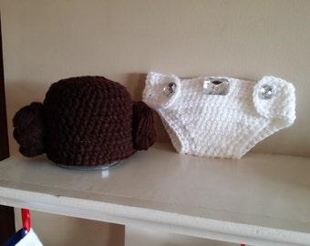 PDF Digital Pattern, Adorable Crochet Princess Leia Hat & Diaper Cover Set,Star Wars, size newborn - 12 months, photo prop, baby shower gift