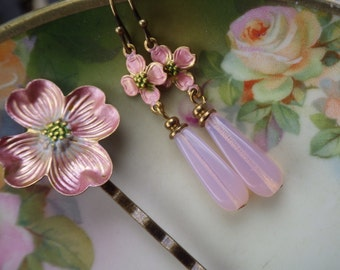 Pink Earrings ~ Dogwood Earrings ~ Art Nouveau ~ Bobby Pin ~ Pink Flower Earrings ~ Blush Pink ~ Small and Slim ~ by LadyofTheLakeJewels