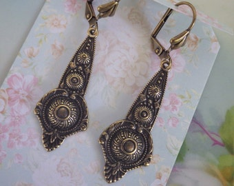 Ornate Edwardian Style Earrings ~  Antiqued Brass ~ Victorian ~ Boho ~ Goes with everything ~ by LadyofTheLakeJewels