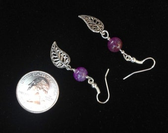 Delicate Leaf Earrings with mottled purple stone