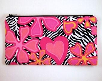 Zebra Flower Heart Zipper Pouch, Pencil Pouch, Cosmetic Bag, Gadget Bag