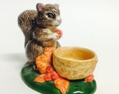 Vintage Fall Decor, Squirrel With Walnut Candleholder, Candle Holder Ceramic, Thanksgiving Home Decor, Leaves