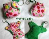 """Pocket Diaper Keychain diaper key chain 2"""" mini  Stuffable pocket style with insert, Cherry Blossom print chain diaper ornament"""