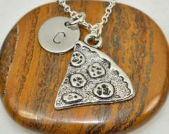 Best Friend Pizza Necklace,Personalized Necklace,Set of 2 Pizza Initial Necklace Set,Pizza Slice Necklace,Couple Necklace,Valentine's