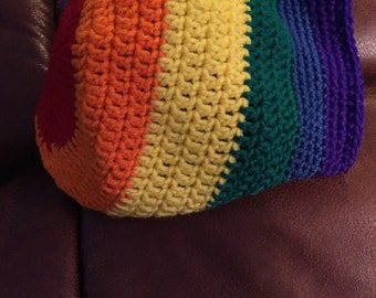 Rainbow slouchy hat