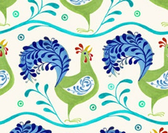 Rooster Fabric - Azuli by Julie Paschkis for In The Beginning - 5JPG Blue - Priced by the 1/2 yard