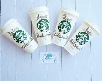Bridesmaid Starbucks Cup, Bridesmaid Gift- Personalized Starbucks Tumbler- Starbucks Cup-Bridesmaid Tumbler-Bridal party gift