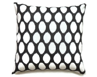 Black and White Pillow Cover, 16x16 Pillow Cover, Designer Pillows, Decorative Cushion Cover, Throw Toss Pillow, Brisling Twill Onyx