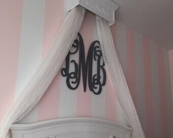 """Wooden Monogram, Painted Wood Monogram, Nursery Decor, Wall Hanging, Vine Script Monogram, Monogram Door Hanger 24"""", Monogram Door Wreath"""