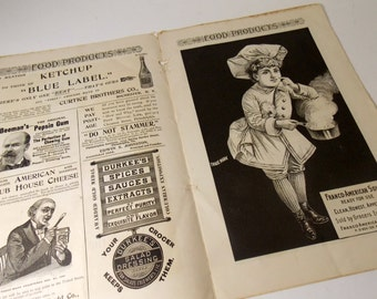 Antique Ephemera Paper / Advertising Booklet / 1800s / Beeman's / Durkee's / Franco-American Soups/ Lowneys / Baking Powder