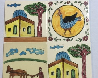 """Tiles Shalom Israel Marked Negev Hand Painted 1975 6"""" square"""