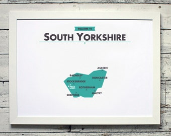 South Yorkshire County Map | # poster, vintage, retro, print