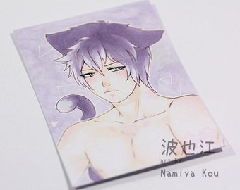 ACEO Original ATC Pouting Catboy Manga Artwork Cute Neko Anime Drawing