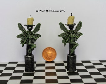 Dollhouse Miniature Absinthe Fairy Candlesticks Candelabras  in 1:12 scale