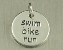Sterling Silver Swim Bike Run Charm--Triathlon Disc Pendant--Athletic Circle Charm--Triathlon Small Charm--Athlete Charm--Runner Charm