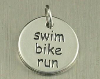 Sterling Silver Swim Bike Run Charm--Triathlon Disc Pendant--Athletic Circle Charm--Triathlon Small Charm--Athlete Charm--Runner Charm