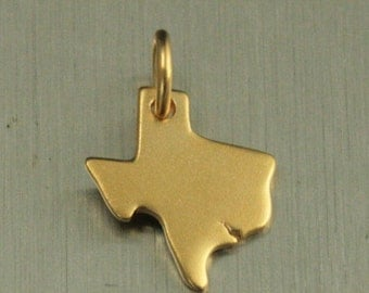 Satin 24K Gold Plated Sterling Silver Texas Charm--Texas Pride--Everything's Bigger in Texas--State Charm--Home State--TX Charm--Texas Love