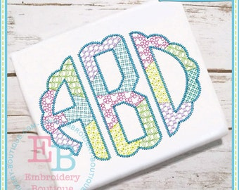 Scalloped Sketch Patchwork Alphabet - This design is to be used on an embroidery machine. Instant Download 5x7,9x9,6x10