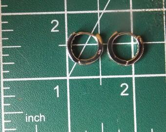 Sterling Silver and Marquisite Hoop Earrings
