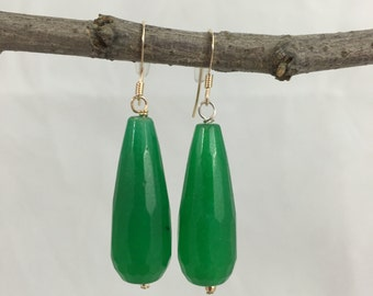 Green Faceted Jade Eesrrings, Drop/Dangle, 14k Gold Fill Ear Wires