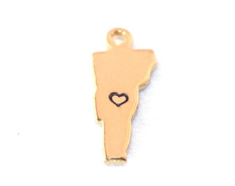 2x Gold Plated Vermont State Charms w/ Hearts - M115/H-VT