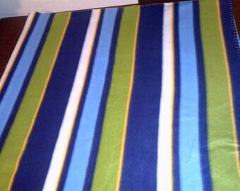 Beachy Blue Green White Stripe Fleece Throw