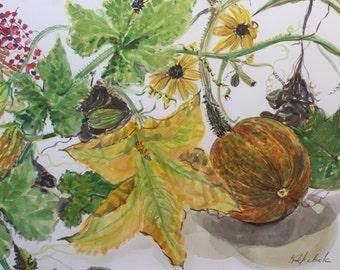 Pumpkin and Blossom Watercolor