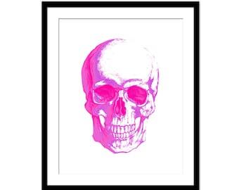 Pink Skull Art Print - Skull Art Print, Watercolor Skull Print, Hot Pink Skull Print, Skull Wall Decor
