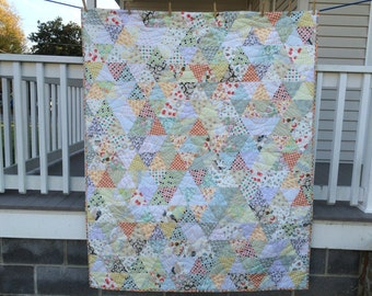 """HANDMADE QUILT - Trianquility - Throw size - 42""""x65"""" - Quilt for Sale"""