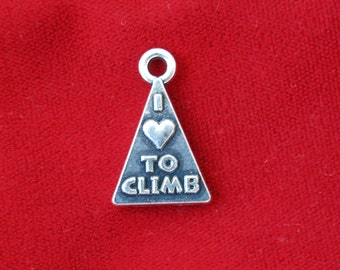 "BULK! 15pc ""I love to climb"" charms in antique silver (BC797B)"