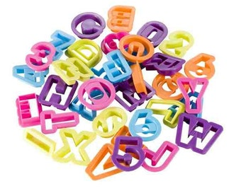 Alphabet and Numbers Cutters, 36 Pieces - Various Colours [1747]