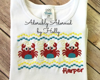 Personalized Faux Smocked Crab Shirt